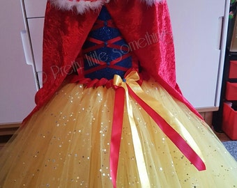 Fur trim cape, princess cape