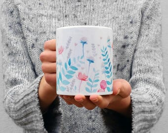 Mug featuring my hand painted 'Fields of Teal' watercolour design