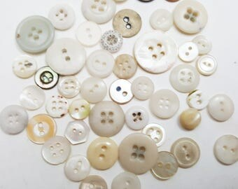 200 Mixed White/Cream Vintage Button Lot, Mother of Pearl Buttons Plastic, Sewing Supply