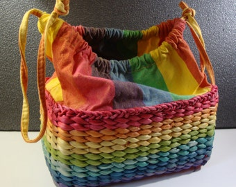 Vintage Sun 'n' Sand Woven Straw Beach Bag Colorful 1990's Summer Purse with Rainbow Stripes Picnic Tote