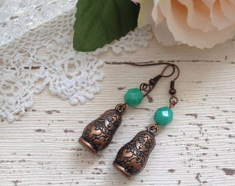 Russian doll earrings, copper babooshka earrings, boho jewelry, turquoise earrings, gift for her, girlfriend gift, gift for mum, mothers day