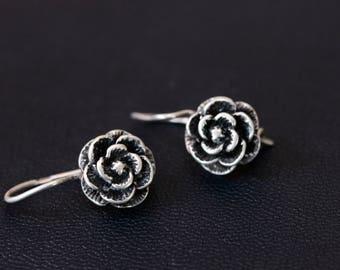Sterling silver dangle rose earrings Made in Ukraine
