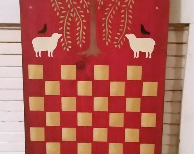 Primitive Willow/Sheep Checker Board Wood Sign