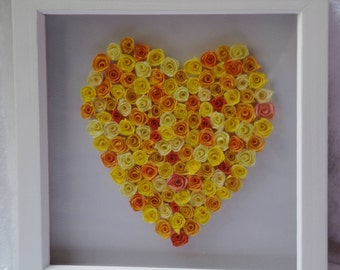 Rose filled quilled heart in shades of yellow and orange
