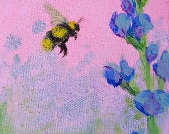 """Bumblebee and blue flower with pink original acrylic mini 4""""x4"""" painting on stretched canvas"""