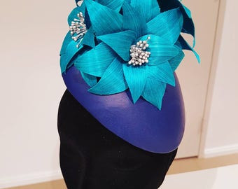 Navy genuine leather headpiece / hat / fascinator with turquoise flowers, ideal for the races