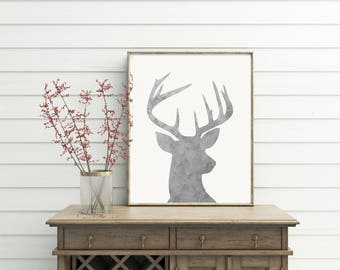 Deer Head Print, farmhouse decor, farmhouse chic, galvanized, galvanized decor, farmhouse, wall decor, wall art, printables, deer decor