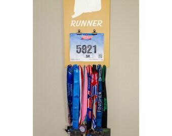 "Handmade Running Medal/Bib Hanger/Holder/Display ""'Connecticut' Runner"""