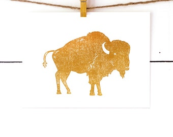 Buffalo Print, Linocut Print, Modern Kids Art, Original Art Print, Nursery Art, Block Print, Lino Print, Buffalo Art, 8x10 Print, Unique Art