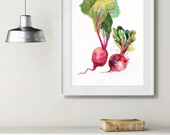 Beet Watercolor Art Print - Vegetable Watercolor - Kitchen Wall Decor - Kitchen Art Print Housewarming Gift