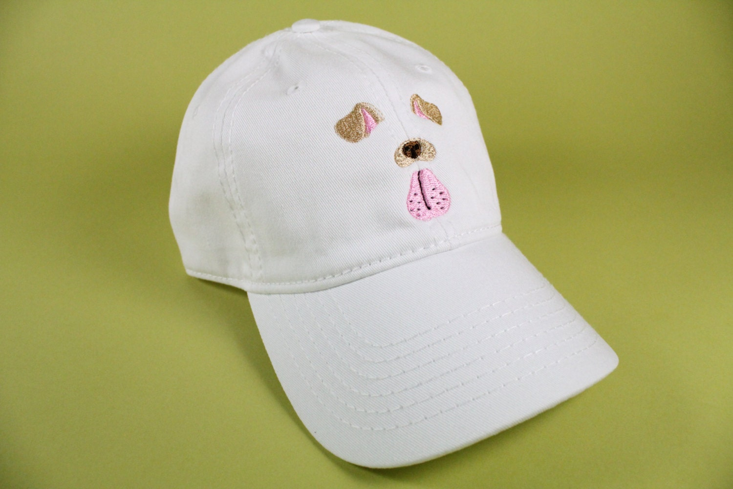 White baseball caps for crafts - New Dog Face Selfie Filter Baseball Hat Dad Hat Low Profile White Pink Black Casquette Embroidered