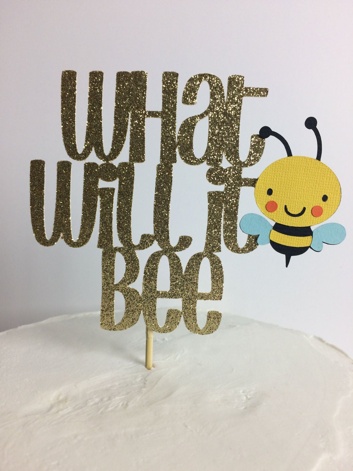 Details This Listing Is For A Handmade Gold Glitter What Will It Bee Cake Topper