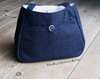 Black Pinstripe Wool Handbag, Shoulder Bag, Open Tote Bag, Mother's Day Gift, Gift for Her, Office, City Bag