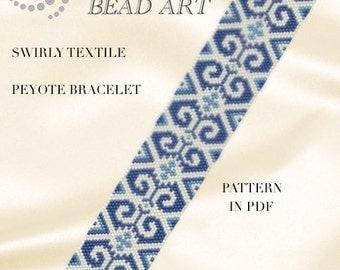 Peyote Pattern for bracelet - Swirly textile peyote bracelet cuff pattern in PDF - instant download
