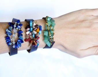 Gemstone Leather Bracelet, Gemstone Bracelet, Boho Bracelet, Gemstone Jewelry, Crystal Bracelet, Gypsy Bracelet, Beaded Bracelet, Chakra