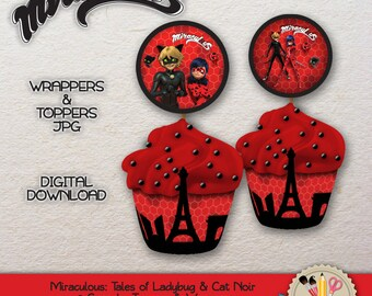PRINTABLE - Miraculous Tales of Ladybug and Cat Noir - Cupcakes Toppers & Wrapper - JPEG - 300dpi - #0001.0