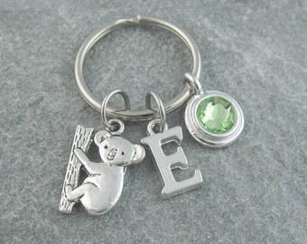 Koala keychain, koala keyring, personalized keychain, initial keychain, swarovski birthstone, koala gift, animal keychain, monogram keyring