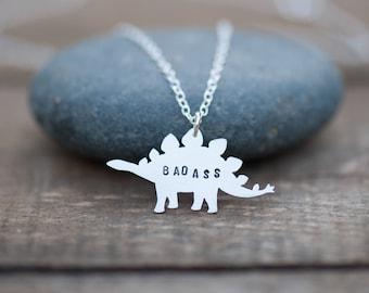 Badass Dinosaur Necklace Hand Sawn from Sterling Silver. Stegosaurus