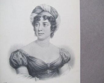 Germaine de Stael postcard / Baronne de Stael-Holstein antique postcard / French Royalty Etching postcard / ND Phot