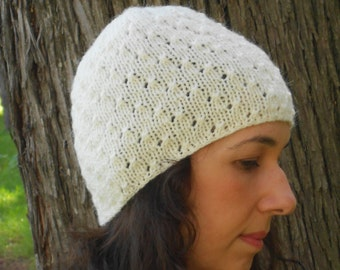 White knit hat beanie, Hand knit cap, Women hat, Wool hat, Winter hat, Cable Knit hat