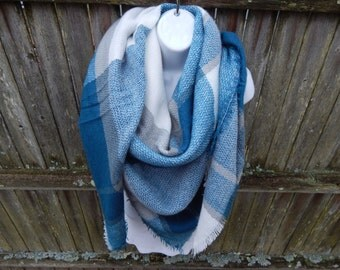 Teal / White / Gray Blanket Scarf