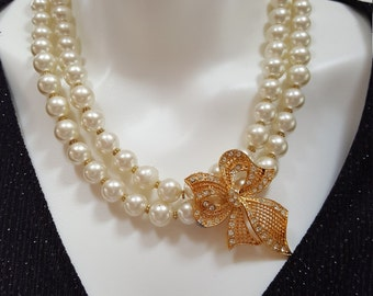 Golden Bow Double-Stranded Glass Pearl Necklace