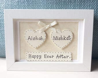 Personalised Wedding Frame - Happy Ever After , Wedding Gifts , Wedding Keepsakes , Framed Wedding Gifts.