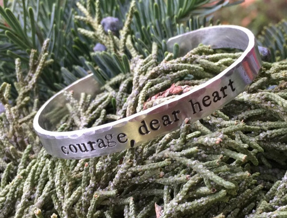 courage, dear heart - pewter or copper cuff  | CS Lewis quote | courage cuff bracelet | hammered cuff | hand stamped
