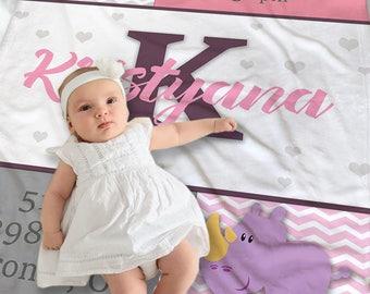 Custom Baby Gift - Personalized Baby Blanket Girl - Baby Shower Gift Idea - Baby Name Blanket - Baby Receiving Blanket - Swaddling Blanket