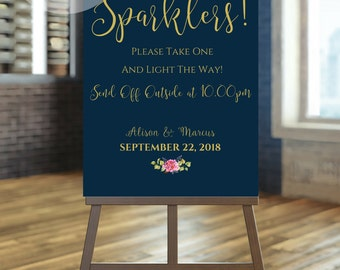 Wedding Sign For Your Wedding Sparklers Table in a Floral Bohemian Wedding Style For A Sparkler Send Off. PDF + JPEG, SKU# IDWS502_2919C