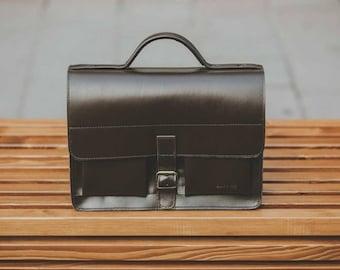 Leather Satchel Bag, handmade - Gingerbread Brown, Laptop handbag case shoulder bag // Handgeschneiderte Handtasche Satchel Bag Braun