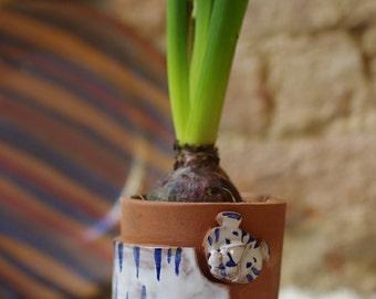 Flowerpot with Tiger/ Handmade Ceramic Flowerpot/ White Tiger Pot