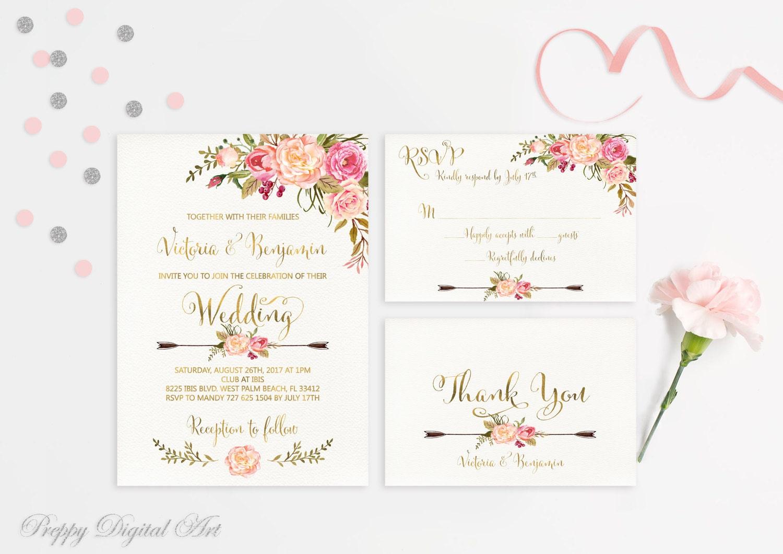 Boho Chic Wedding Invitations: Floral Wedding Invitations Printable Boho Chic Wedding