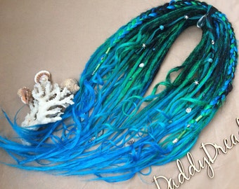 Crochet synthetic dreads,double ended or single ended. Set Mermaid