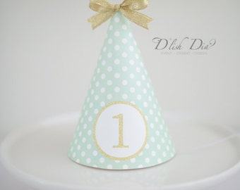 Mint printable Party hat, first birthday party hat,cake smash props,instant download,green party hat