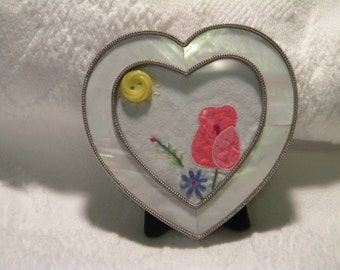 MOP-like Heart Frame. Vintage Linen. Vintage Button. One-of-a-Kind. Sunshine. Rose. Home decor. Love. Gift for her.