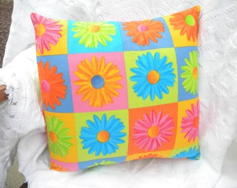 """Pillow cover. 14"""" x 14"""" pillow cover. Home decor. Vintage. Vintage curtains. Vintage linens. One-of-a-Kind. Funky. Unique. Daisies. Colorful"""