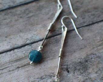 Apatite Earrings, Ocean Blue Apatite Gemstones, Sterling Silver Earrings, Blue Gemstone Earrings, Something Blue, Dangle Earrings