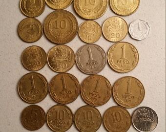 29 chile vintage coins 1961 - 1995  - coin lot centimos pesos escudos - world foreign collector money numismatic a83