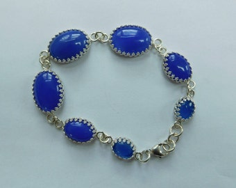 Blue agate and sterling seven stone bracelet