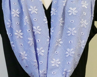Blue Embroidery Scarf
