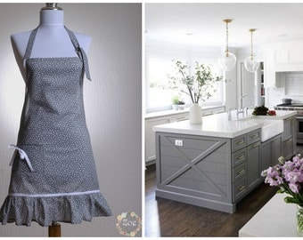 Dotted apron, Gray and White dotted kitchen apron
