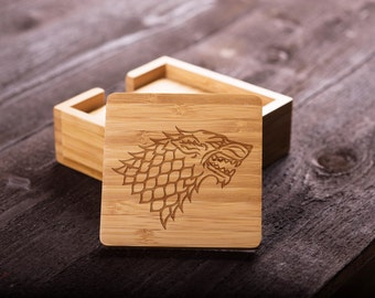 Game of Thrones Wooden Coaster Set, Bamboo, House Stark of Winterfell, Wedding gift for Couple, Shower, Corporate Gift Kitchen Decor #5003