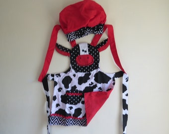 Childs cow apron with chefs hat