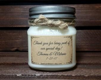8oz Wedding Favors - Personalized Wedding Candles - Rustic Wedding - Soy Candles Handmade - Wedding Thank You Gifts - Mason Jar Candles