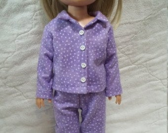 "14.5"" doll clothing - Mauve flannel pjs with slippers"