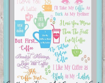 COFFEE SVG, Svg Bundle, Digital design, cut file, yeti decal, Silhouette, Cricut, Coffee. mocha. latte, pot head, mug, cup, beans