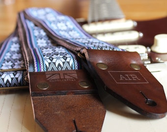 """The Limited Edition """"Norwegian Wood"""" Air Guitar Strap, Woven, Thick Leather Ends, Personalisation, Custom Engraving and Logo Options"""