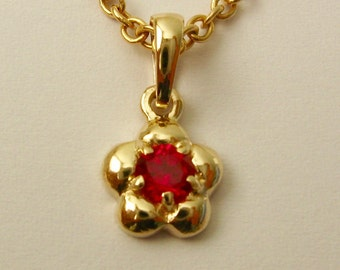 Solid 9ct Yellow Gold Birthstone Daisy Cubic Ruby Pendant