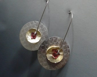Sterling Silver and 14K gf Pinwheel Earrings with Garnet 14k gold filled Spinning